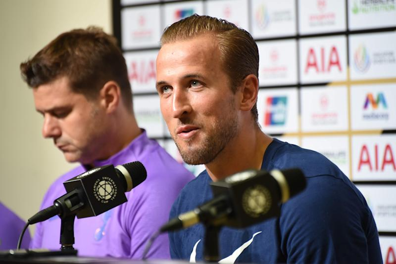Tottenham Hotspur striker Harry Kane (right) and manager Mauricio Pochettino during the club's official media conference during the International Champions Cup. (PHOTO: Zainal Yahya/Yahoo News Singapore).