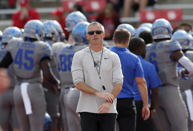 Coach Mike Norvell of the Memphis Tigers watches players warm up before their game against the Houston Cougars on Nov. 16. (Tim Warner/Getty Images)