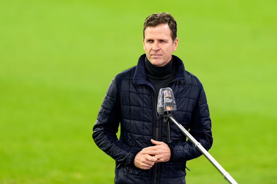 LEIPZIG, GERMANY - NOVEMBER 14: (BILD ZEITUNG OUT) Manager Oliver Bierhoff of Germany looks on prior to the UEFA Nations League group stage match between Germany and Ukraine at Red Bull Arena on November 14, 2020 in Leipzig, Germany. (Photo by Mario Hommes/DeFodi Images via Getty Images)