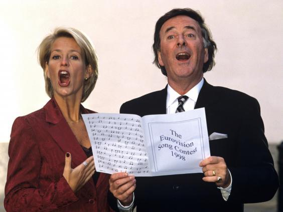 Ulrika Jonsson and Terry Wogan warming up for the 1998 Eurovision Song Contest (Tony Larkin/Rex)