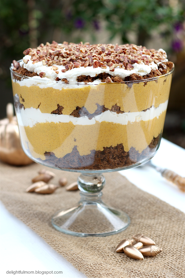 """<p>Top this sweet dessert with a layer of chopped pecans.</p><p><strong>Get the recipe at <a href=""""https://delightfulmomfood.com/gingerbread-pumpkin-trifle/"""" rel=""""nofollow noopener"""" target=""""_blank"""" data-ylk=""""slk:Delightful Mom Food"""" class=""""link rapid-noclick-resp"""">Delightful Mom Food</a>.</strong></p><p><strong><strong><a class=""""link rapid-noclick-resp"""" href=""""https://www.amazon.com/Anchor-Hocking-Monaco-Trifle-Bowl/dp/B0002YSLXC?tag=syn-yahoo-20&ascsubtag=%5Bartid%7C10050.g.2721%5Bsrc%7Cyahoo-us"""" rel=""""nofollow noopener"""" target=""""_blank"""" data-ylk=""""slk:SHOP TRIFLE BOWLS"""">SHOP TRIFLE BOWLS</a></strong><br></strong></p>"""
