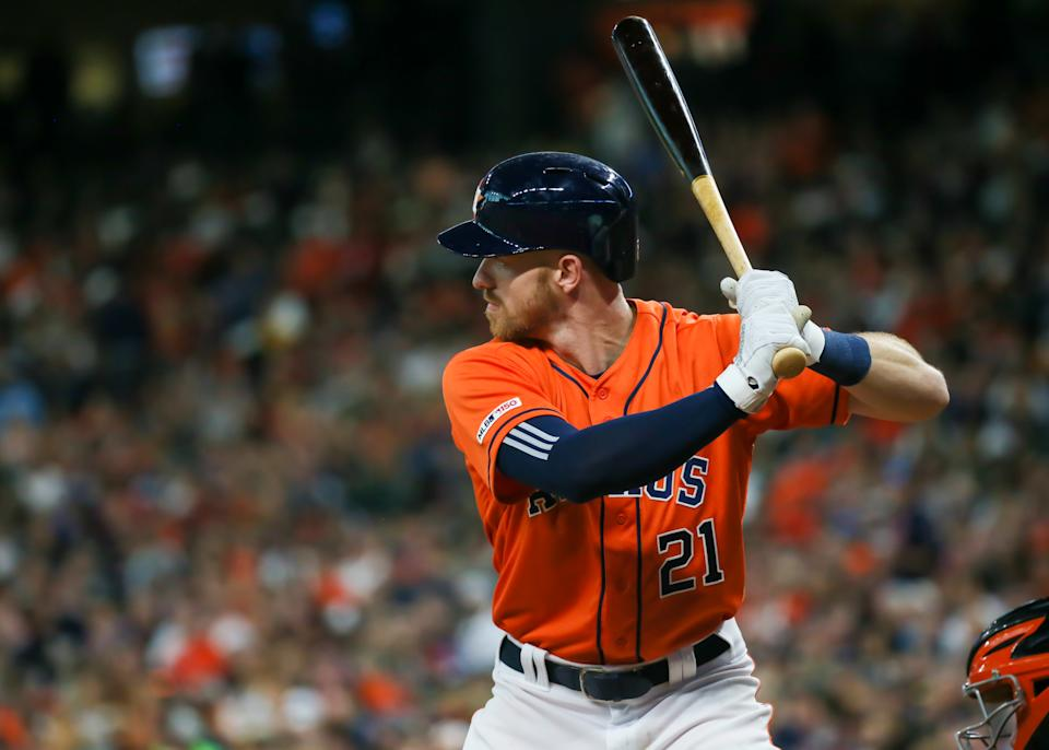 HOUSTON, TX - JUNE 07:  Houston Astros left fielder Derek Fisher (21) watches the pitch during the baseball game between the Baltimore Orioles and Houston Astros on June 7, 2019 at Minute Maid Park in Houston, Texas.  (Photo by Leslie Plaza Johnson/Icon Sportswire via Getty Images)