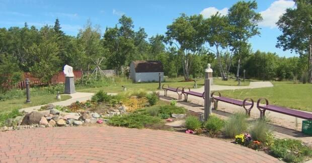 The garden located behind the Membertou Heritage Park will soon have a barrier made out of cement-covered shoes. (Brent Kelloway - image credit)