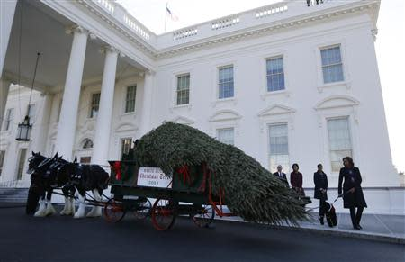 U.S. first lady Obama and her daughters Sasha and Malia welcome the official White House Christmas tree at the North Portico of the White House in Washington