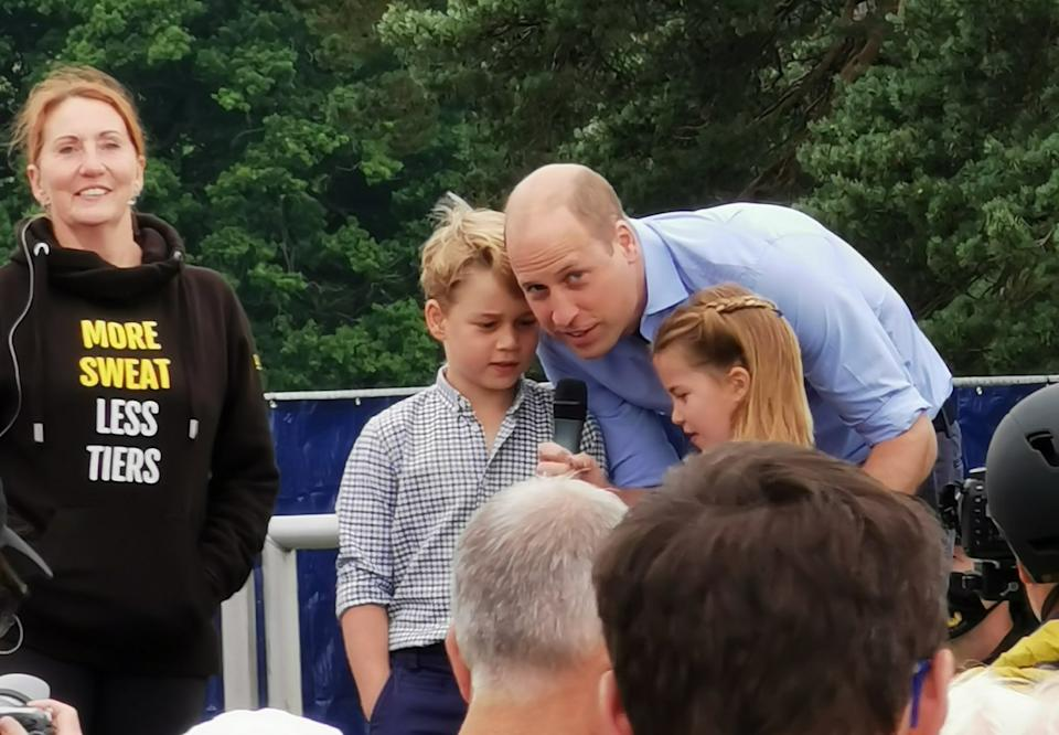 Duke of Cambridge with Prince George and Princess Charlotte at a local half marathon event on the Sandringham Estate. (Twitter/Brian25298722)