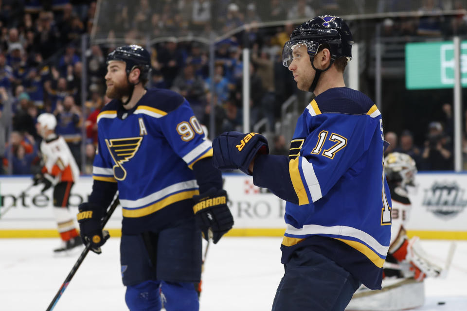 St. Louis Blues' Jaden Schwartz (17) celebrates along side teammate Ryan O'Reilly (90) after scoring during the second period of an NHL hockey game against the Anaheim Ducks Monday, Jan. 13, 2020, in St. Louis. (AP Photo/Jeff Roberson)