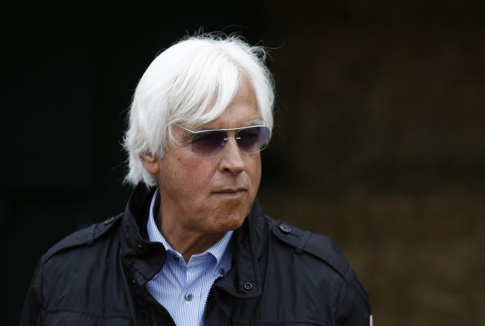 Bob Baffert, trainer of Kentucky Derby winner Justify, waits for Justify's arrival at Pimlico Race Course, Wednesday, May 16, 2018, in Baltimore. The Preakness Stakes horse race is scheduled to take place May 19. (AP Photo/Patrick Semansky)