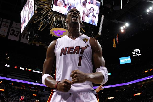 MIAMI, FL - JUNE 19: Chris Bosh #1 of the Miami Heat reacts in the second quarter against the Oklahoma City Thunder in Game Four of the 2012 NBA Finals on June 19, 2012 at American Airlines Arena in Miami, Florida. NOTE TO USER: User expressly acknowledges and agrees that, by downloading and or using this photograph, User is consenting to the terms and conditions of the Getty Images License Agreement. (Photo by Mike Ehrmann/Getty Images)