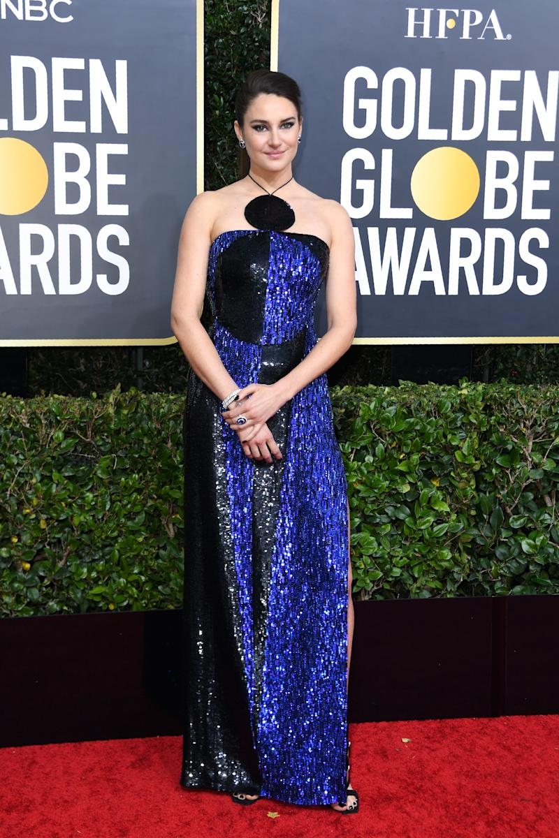 Actress Shailene Woodley at the 2020 Golden Globes Awards