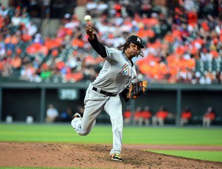 Jun 15, 2018; Baltimore, MD, USA; Miami Marlins pitcher Jose Urena (62) throws a pitch in the third inning against the Baltimore Orioles at Oriole Park at Camden Yards. Mandatory Credit: Evan Habeeb-USA TODAY Sports