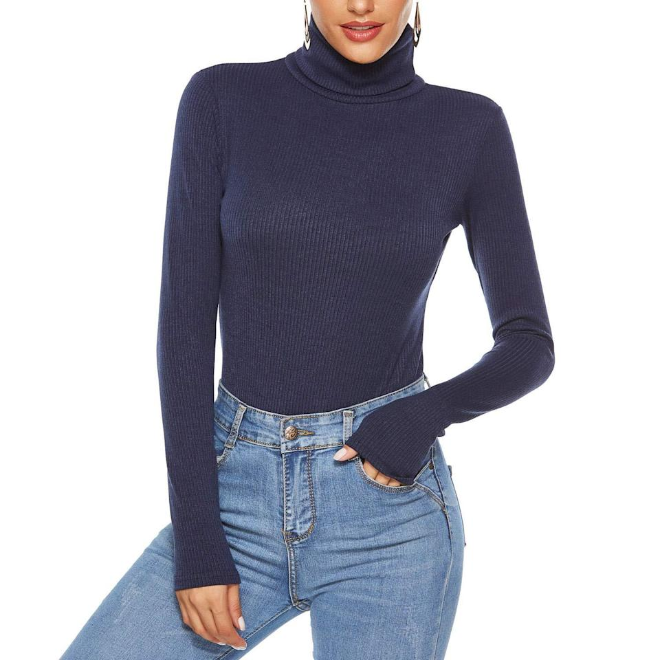 """<h3><h2>TopMelon Turtleneck Bodysuit</h2></h3><br>Keep it classic with a ribbed turtleneck style in a soft cotton blend that boats chic extra-long sleeves and a 4.4-star rating.<br><br><strong>TopMelon</strong> Turtleneck Knit Bodysuit, $, available at <a href=""""https://amzn.to/36VUsOj"""" rel=""""nofollow noopener"""" target=""""_blank"""" data-ylk=""""slk:Amazon"""" class=""""link rapid-noclick-resp"""">Amazon</a>"""