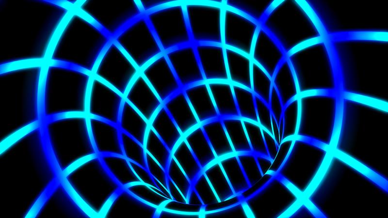 Fly Inside Blue Digital Tunnel Grid in Connected Secure Computer Network - Abstract Background Texture