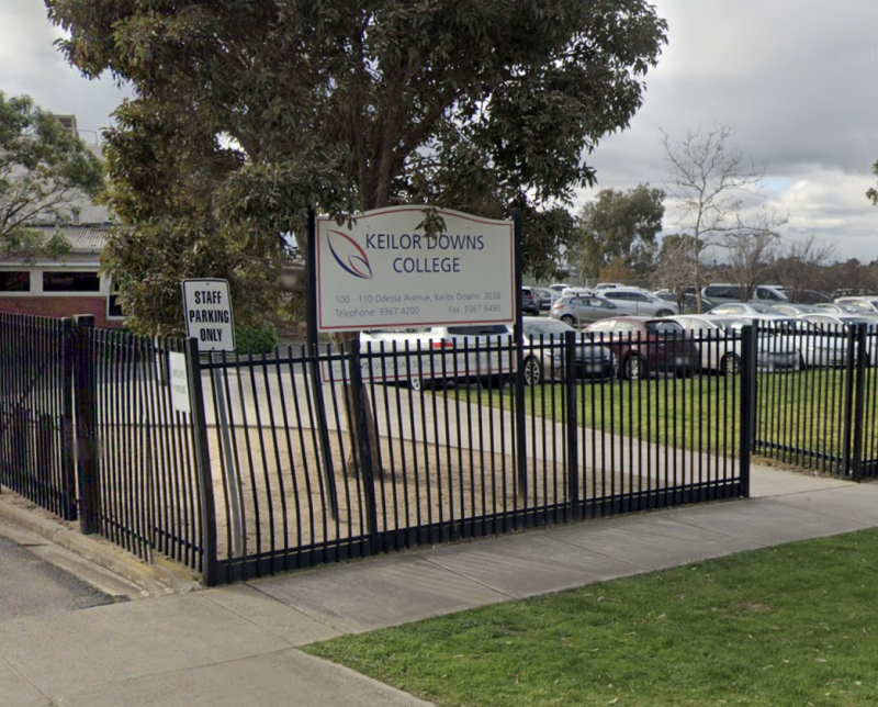 Pictured is Keilor Downs Secondary College where two new coronavirus cases have been linked to a family outbreak.