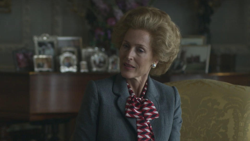 Gillian Anderson as Margaret Thatcher in series four of 'The Crown'. (Credt: Netflix)