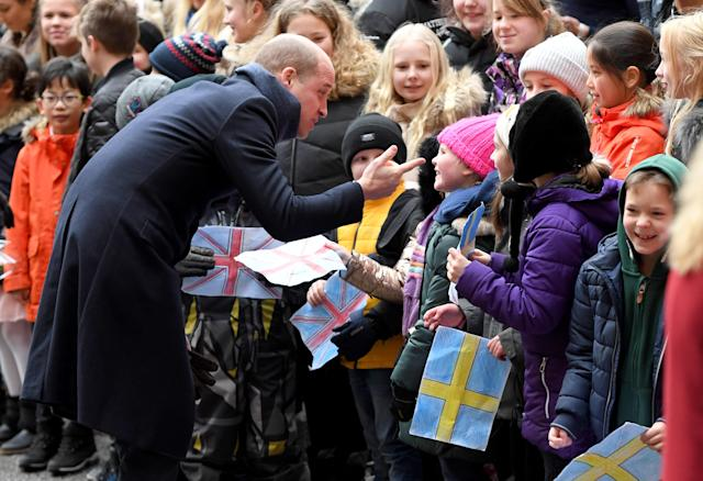 <p>Prince William, Duke of Cambridge, visits the Matteusskolan School in Stockholm to join children who have taken part in the YAM programme during one of their mental health activity sessions during the royal visit to Sweden and Norway on Jan. 31, 2018. (Photo by Getty Images) </p>