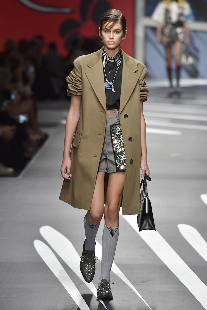 Kaia Gerber walks the runway at the Prada Spring Summer 2018 fashion show during Milan Fashion Week on September 21, 2017 in Milan, Italy. (Photo by Catwalking/Getty Images)