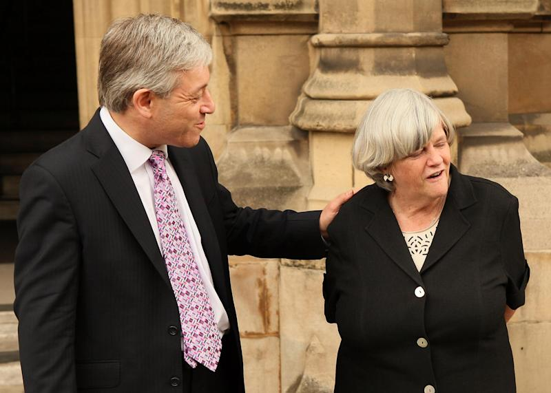 Ann Widdecombe with John Bercow in 2009, when they were candidates to be speaker of the House of Commons (Peter Macdiarmid/Getty Images)