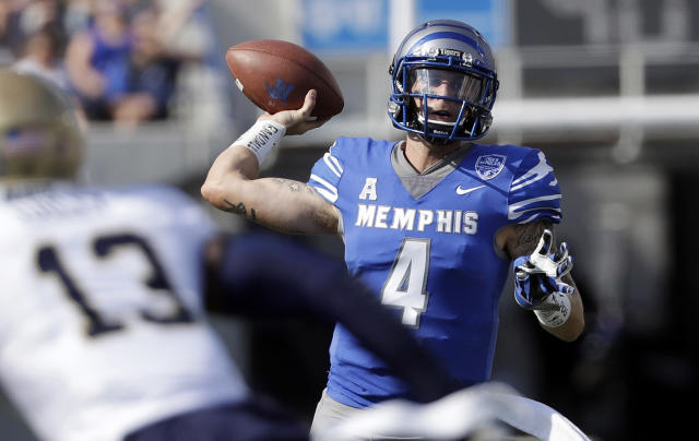 "<a class=""link rapid-noclick-resp"" href=""/ncaaf/players/227452/"" data-ylk=""slk:Riley Ferguson"">Riley Ferguson</a> is one of the nation's most prolific quarterbacks. (AP)"