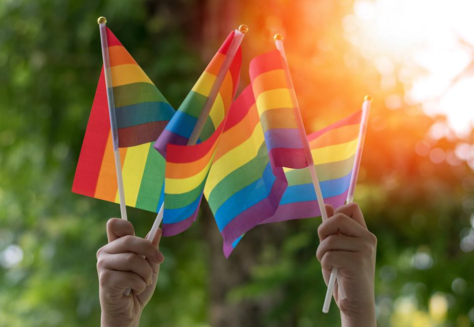 LGBT, pride, rainbow flag as a symbol of lesbian, gay, bisexual, transgender, and queer pride and LGBTQ social movements in June month