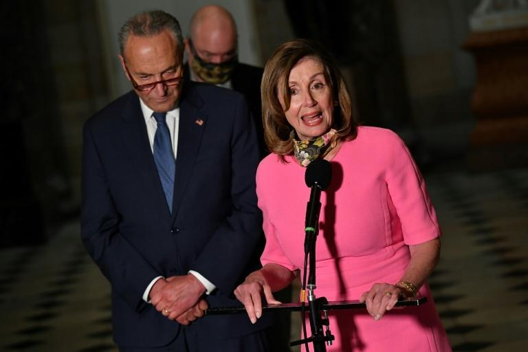"House Speaker Nancy Pelosi and US Senate Minority Leader Chuck Schumer have so far failed to reach a deal with the White House: ""I've told them, come back when you when you are ready to give us a higher number"""