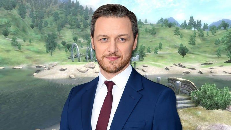 James McAvoy standing in front of a screenshot of Oblivion.