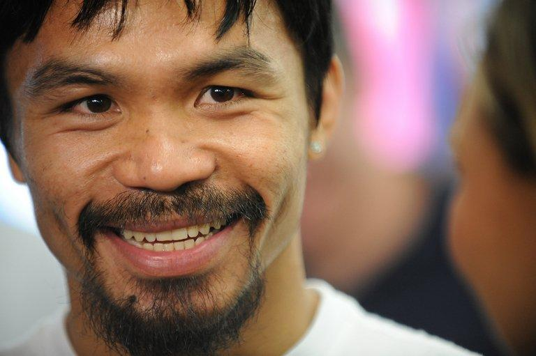 Manny Pacquiao, pictured in Hollywood, California, on October 26, 2011. Philippine boxing legend will strap on his gloves on a Sunday morning when he takes on Brandon Rios in Macau on November 24, as promoters cash in on the lucrative US pay-per-view market