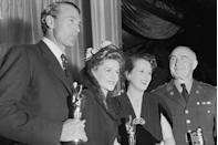 <p> Gary Cooper, Joan Fontaine, Mary Astor, and Donald Crisp took home the acting awards. Joan beat out her own sister, Olivia de Havilland, for the Best Actress award. Donald, along with many other men, wore military uniforms to the ceremony because it was the first Oscars held after the U.S. entered WWII. </p>