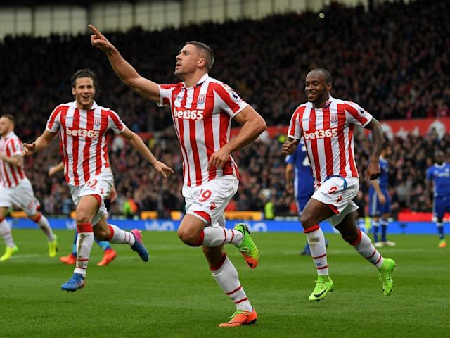 The Stoke forward celebrates his spot-kick (Getty)