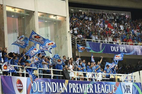 IPL fans show their support during the 2010 DLF Indian Premier League T20 semi final match between Mumbai Indians and Royal Challengers Bangalore played at DY Patil Stadium on April 21, 2010 in Navi Mumbai, India.