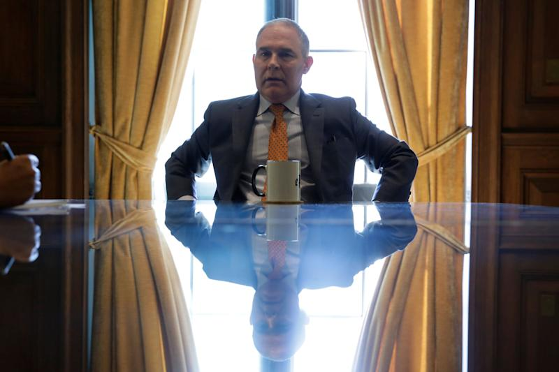 """EPA Administrator Scott Pruitt has long-standing and <a href=""""https://www.huffingtonpost.com/entry/pruitt-emails_us_58adda3ce4b03d80af71a4eb"""">deep ties to the fossil fuel industry</a>."""