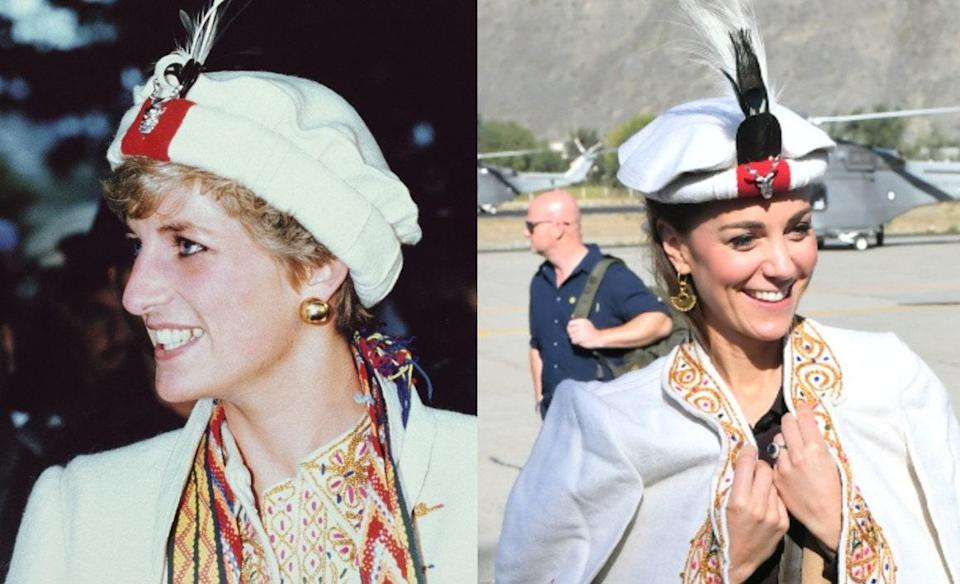 Princess Diana wearing the traditional hat in Pakistan in 1991; Kate Middleton visiting Pakistan in 2019