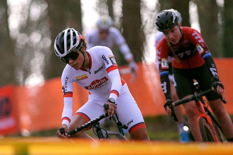 HOOGERHEIDE NETHERLANDS JANUARY 26 Ceylin Del Carmen Alvarado of The Netherlands and Team Alpecin Fenix Annemarie Worst of The Netherlands and Team 777 during the 31st WC GP Adrie Van der Poel Hoogerheide 2020 Women Elite UCICX TelenetUCICXWC on January 26 2020 in Hoogerheide Netherlands Photo by Luc ClaessenGetty Images