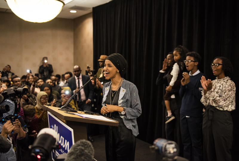 Ilhan Omar speaks at an election night party on Nov. 6, 2018, in Minneapolis. Omar won the race for Minnesota's 5th Congressional District and became one of the first Muslim women elected to Congress. (Stephen Maturen/Getty Images)