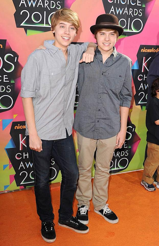 """Siblings Cole and Dylan Sprouse were pitted against each other in the Favorite TV Actor race, but Dylan bested his bro and took home the coveted blimp trophy by the end of the evening. Steve Granitz/<a href=""""http://www.wireimage.com"""" target=""""new"""">WireImage.com</a> - March 27, 2010"""