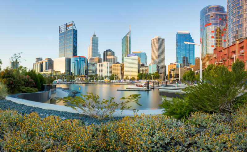 Cityscape of Perth WA from Elizabeth Quay Just after sunset with garden in the foreground.