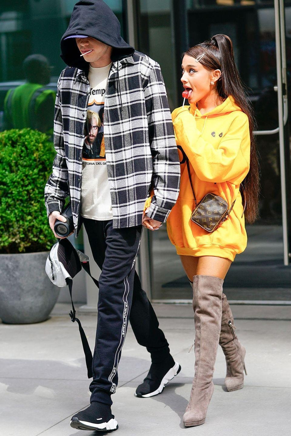 "<p>Few people saw this coming. After just weeks of dating, Ariana and Pete were engaged in June 2018. Pete told <a class=""link rapid-noclick-resp"" href=""https://www.gq.com/story/pete-davidson-style-2018"" rel=""nofollow noopener"" target=""_blank"" data-ylk=""slk:GQ""><em>GQ</em></a> they went engagement ring shopping the day they met, so hey.</p>"