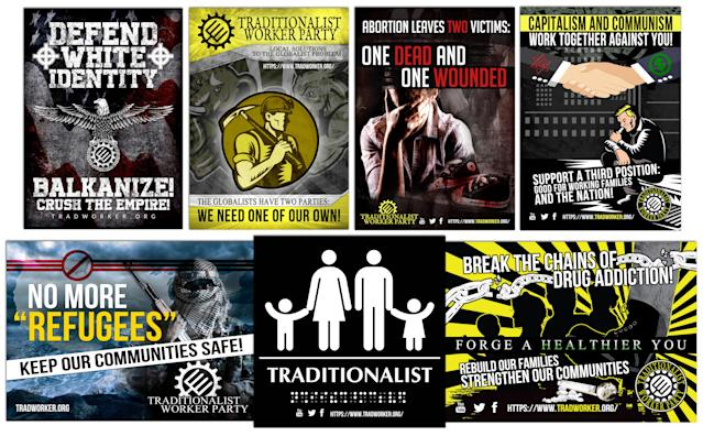 A sampling of propaganda from the Traditionalist Worker Party's website illustrates the group's controversial views.