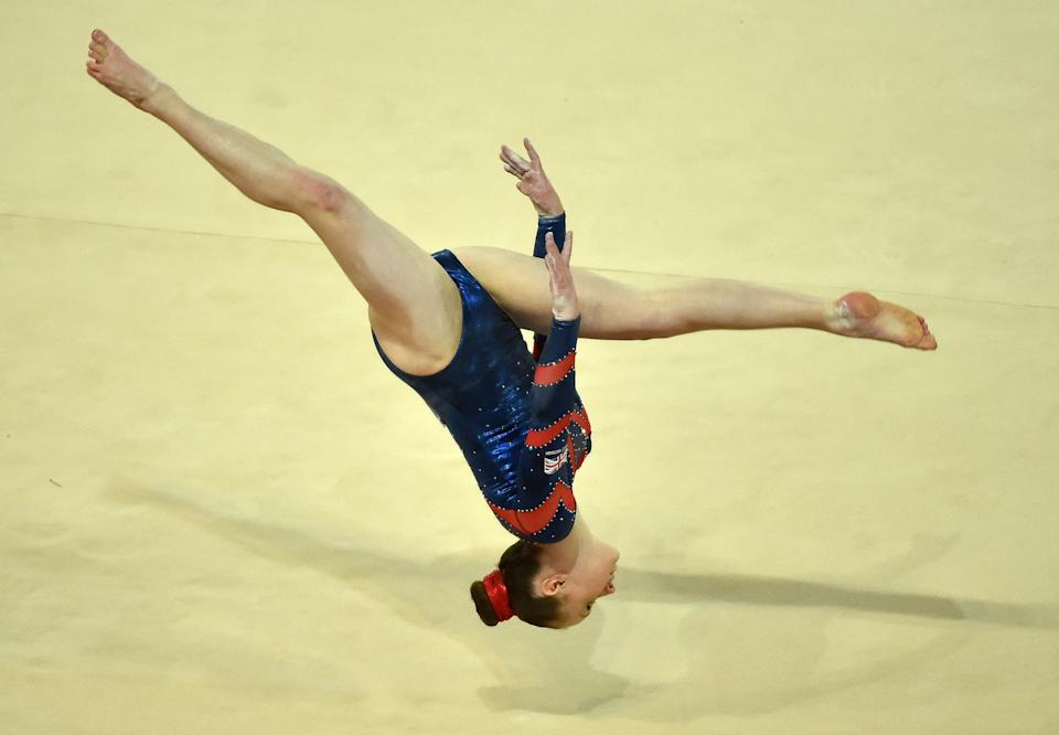 British Amy Tinkler competes on April 15, 2015 in a qualifying round of the floor exercise event at the European Women's Artistic Gymnastics Championships in the southern French city of Montpellier. AFP PHOTO / PASCAL GUYOT (Photo credit should read PASCAL GUYOT/AFP via Getty Images)