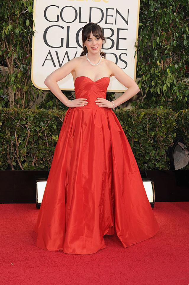 Zooey Deschanel arrives at the 70th Annual Golden Globe Awards at the Beverly Hilton in Beverly Hills, CA on January 13, 2013.