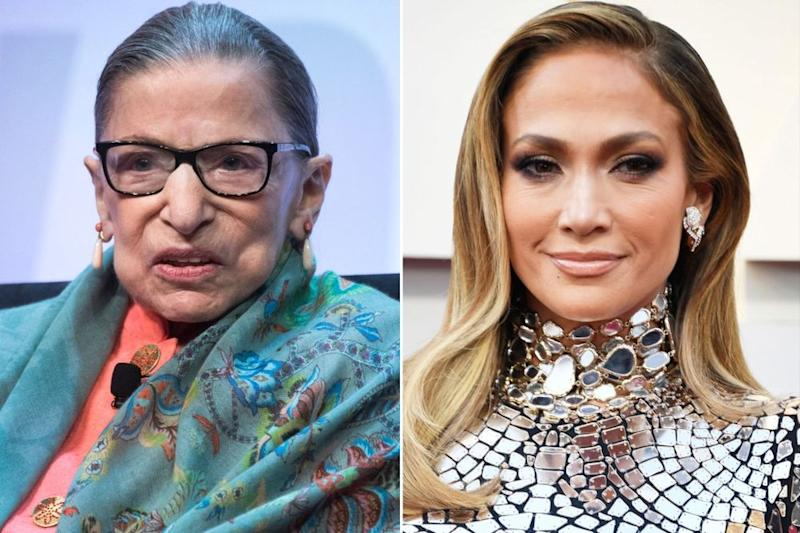 Ruth Bader Ginsburg; Jennifer Lopez | Tom Williams/CQ-Roll Call, Inc via Getty Images; Frazer Harrison/Getty Images