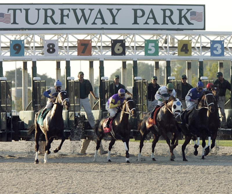 FILE - In this file photo taken Sept. 7, 2005, horses break out of the gate on the new Polytrack surface at Turfway Park  in Florence, Ky. While tracks in other states have parlayed casino gambling into higher purses. Kentucky lawmakers have resisted allowing such a move. Track executives says that without the infusion of casino gambling money, the winter haven for Kentucky horse racing could someday turn into a shopping mall. (AP Photo/Al Behrman, File)