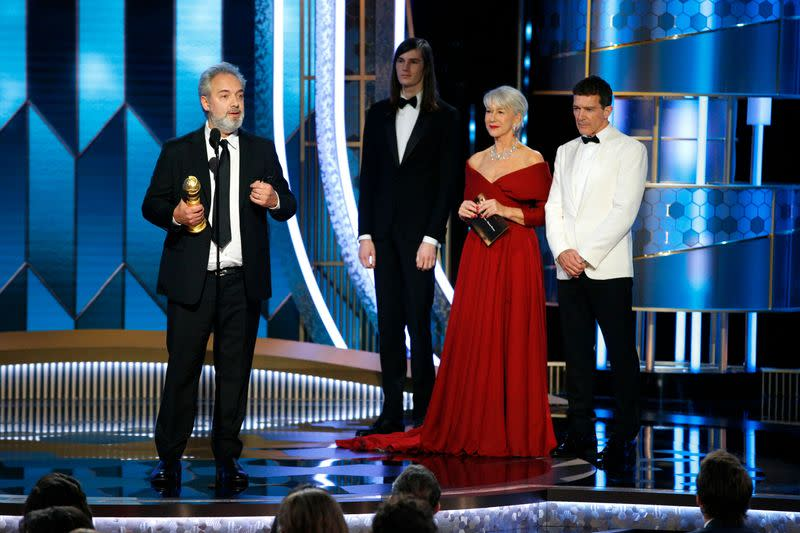 '1917' upsets Hollywood awards season as Globes host Gervais goes for broke