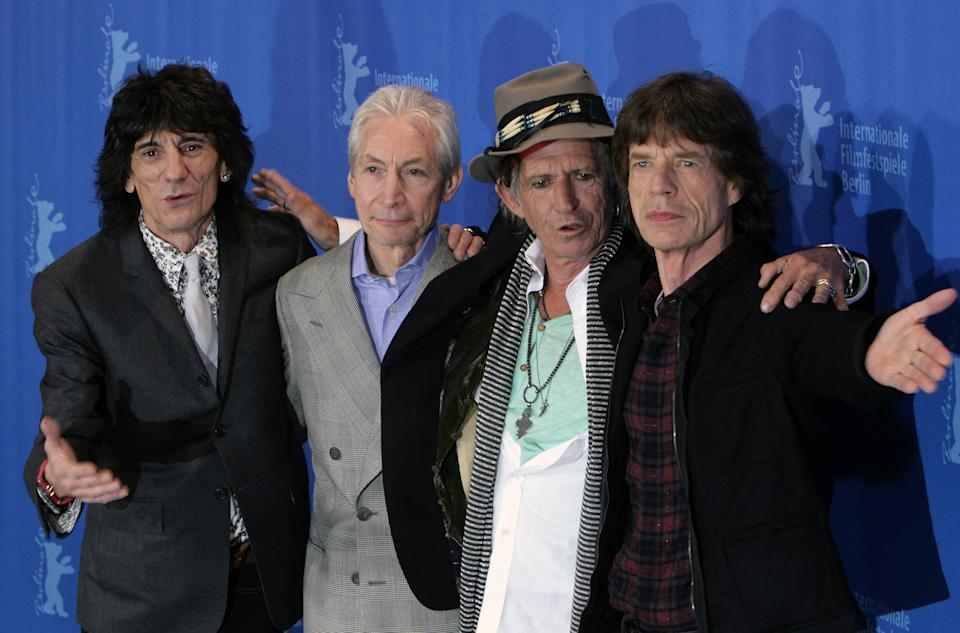 HANNOVERSCH MUNDEN, GERMANY - JUNE 06: Die Rock Band Mit Saenger Mick Jagger, Guitar Keith Richarda and Ron Wood, Drums Charlie Watts during the Rolling Stones Concert - European Tour 1982 on June 06, 1982 in Hannover, Germany.  (Photo by ATPImages/Getty Images)