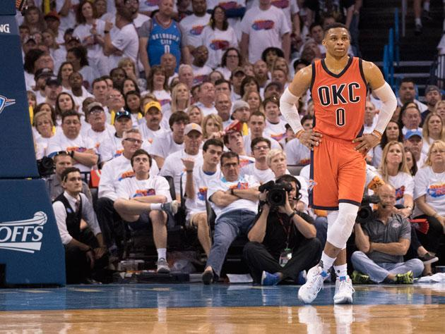 Russell Westbrook waits it out. (Getty Images)