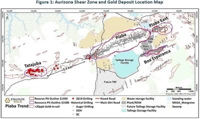 Aurizona Shear Zone and Gold Deposit Location Map (CNW Group/Equinox Gold Corp.)