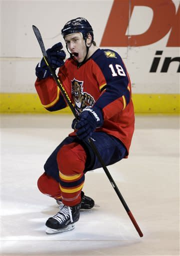 Florida Panthers' Shawn Matthias celebrates after scoring a goal during the second period of an NHL hockey game against the Winnipeg Jets in Sunrise, Fla., Tuesday, March 5, 2013. (AP Photo/J Pat Carter)