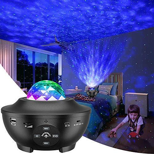 Galaxy Projector, Star Projector 3 in 1 Night Light Projector w/LED Nebula Cloud with Bluetooth…