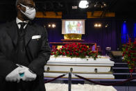 The casket of Daunte Wright rests in place before funeral services at Shiloh Temple International Ministries in Minneapolis, Thursday, April 22, 2021. Wright, 20, was fatally shot by a police officer during a traffic stop. (AP Photo/John Minchillo, Pool)
