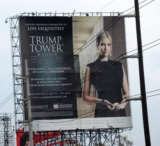A Trump Tower advertisement is seen being displayed on a roadside billboard in Manila. As a Philippine property boom gathers pace, even Paris Hilton, Donald Trump and high-fashion house Versace are getting a piece of the action