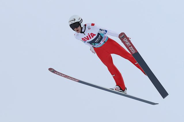 REFILE - CORRECTING NATIONALITY FIS Ski Jumping World Cup - Men's HS134 - Oslo, Norway - March 10, 2018. Clemens Aigner of Austria competes. NTB Scanpix/Terje Bendiksby via REUTERS ATTENTION EDITORS - THIS IMAGE WAS PROVIDED BY A THIRD PARTY. NORWAY OUT. NO COMMERCIAL OR EDITORIAL SALES IN NORWAY.